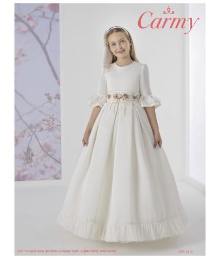 Vestido falda de tablas poliéster triple rayado